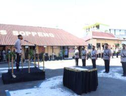 Kapolres Soppeng Pimpin Upacara Sertijab Kabag Ren, Kapolsek Jajaran dan Koorps Raport Kenaikan Pangkat Personil