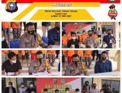 Press Release Tindak Pidana Narkotika Dipimpin Kapolres Bengkalis, Temukan Senpi Rakitan